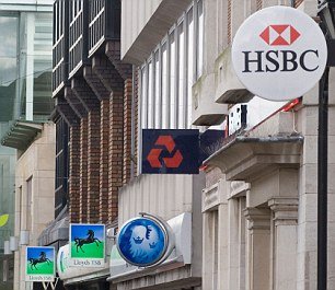 High Street Banks signs west london UK HOMER SYKES